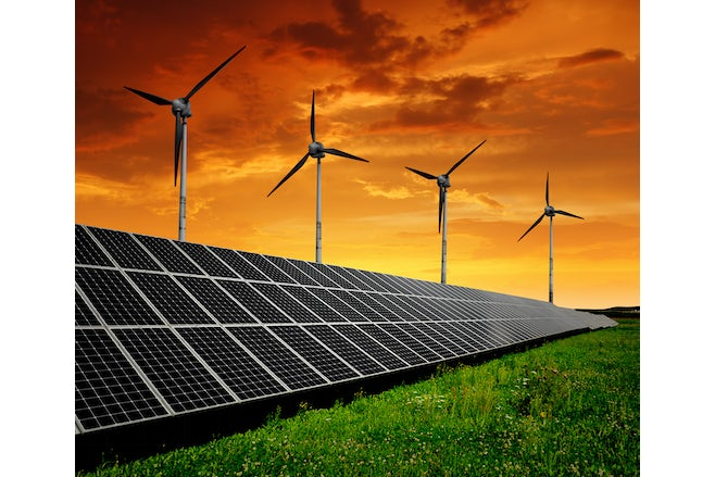 Solar energy panels with wind mills